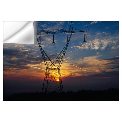 Sunset behind high tension power lines. Wall Decal
