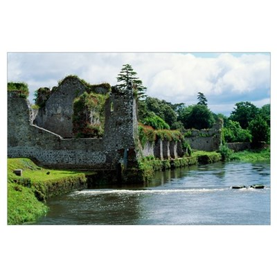 Moat around castle ruins, Ireland. Poster