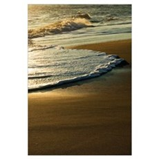 Surf on sandy beach, sunrise light, Outer Banks, N Framed Print