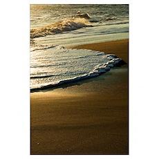Surf on sandy beach, sunrise light, Outer Banks, N Poster