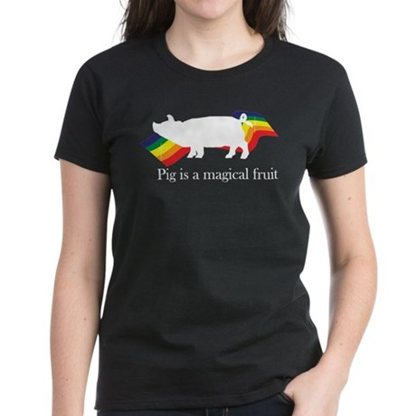 Pig is a magical fruit-side Women's Dark T-Shirt