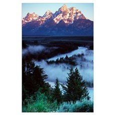 Mist over Snake River, sunrise light, Grand Teton Poster