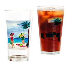 Cute Beach babe Drinking Glass