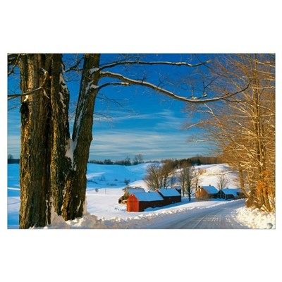 Snow-covered farm, Vermont Poster