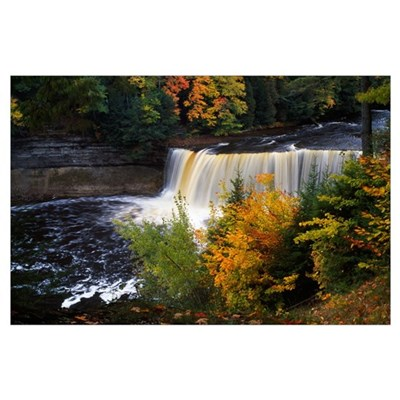 Tahquamenon Falls, autumn color forest, Michigan Poster