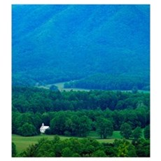 High angle view of misty Cades Cove with church, G Poster