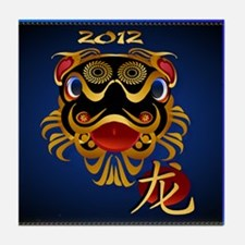 Black n Gold Chinese Dragon F Tile Coaster
