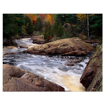 Bad River, autumn color trees, Copper Falls State Poster
