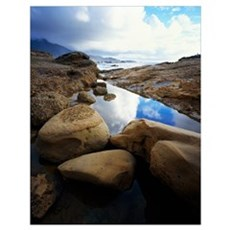Shoreline rocks and reflective tide pool, Point Lo Poster