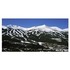 Ski resorts in front of a mountain range, Breckenr Poster
