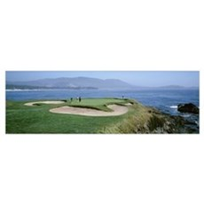 People playing golf at a golf course, Pebble Beach Poster
