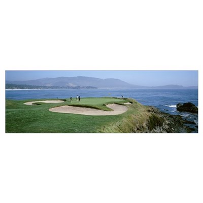 People playing golf at a golf course, Pebble Beach Framed Print