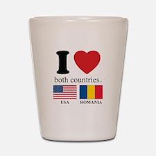 USA-ROMANIA Shot Glass