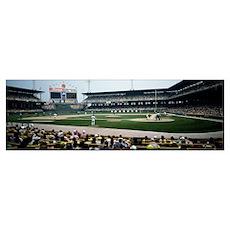 Spectators watching a baseball match in a stadium, Poster