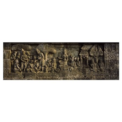 Carvings on the wall, Borobudur Temple, Java, Indo Framed Print