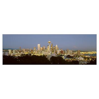Evening skyline Seattle w/Mt Rainier WA USA Poster