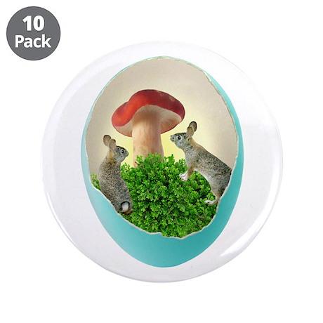 "Bunnies Mushroom Egg 3.5"" Button (10 pack)"
