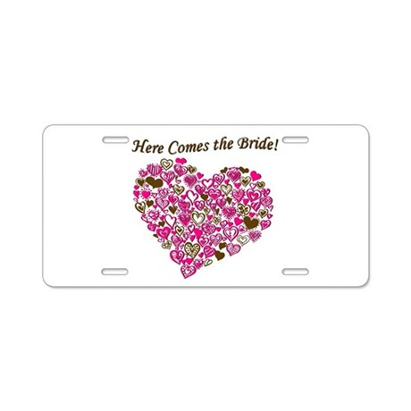 Here Comes The Bride Aluminum License Plate