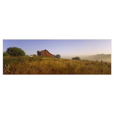 Barn in a field, Iowa County, Wisconsin Poster