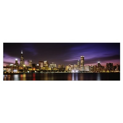 Buildings at the waterfront Sears Tower, Lake Mich Poster