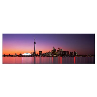 Reflection of buildings in water, CN Tower, Toront Poster