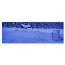 Hockey net on a snowcapped landscape, Lake Louise, Framed Print