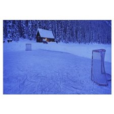 Hockey net on a snowcapped landscape, Lake Louise,