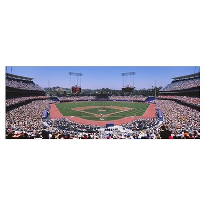 Spectators watching a baseball match, Dodgers vs. Poster