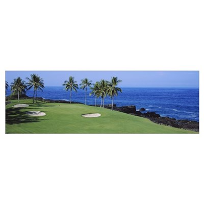 Golf course at the oceanside, Kona Country Club Oc Poster