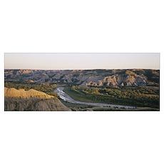 River passing through a landscape, Little Missouri Poster