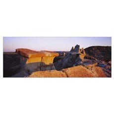 Rock formations on a landscape, Badlands, Theodore Poster