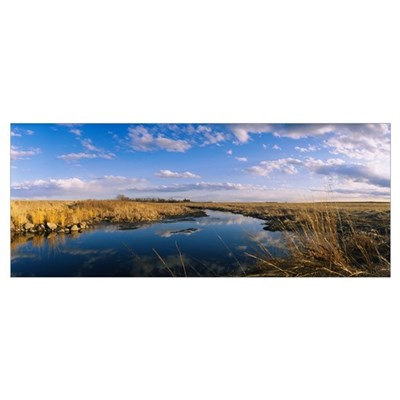 Reflection of clouds in a lake, Prairie Pothole Re Framed Print