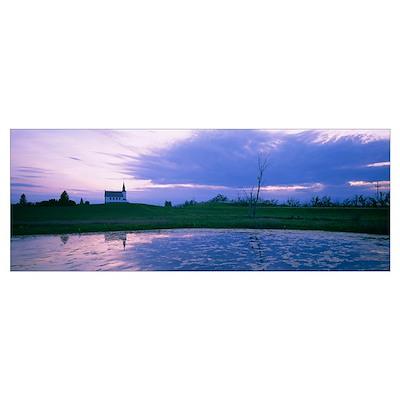 Reflection of a church near a pond, North Dakota Poster