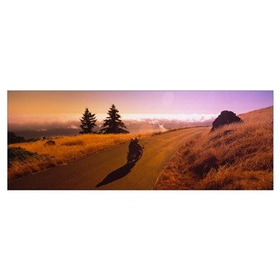 Motorcycle moving on a road, Mt Tamalpais, Marin C Poster