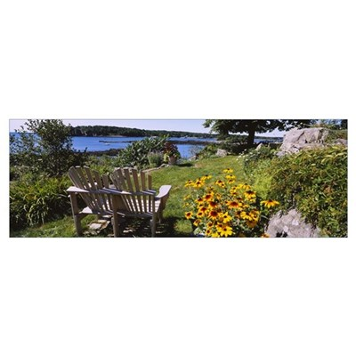Two adirondack chairs in a garden, Peaks Island, C Poster