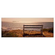 Empty bench on the beach, Peaks Island, Casco Bay, Poster