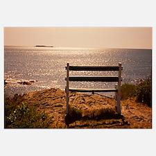 Empty bench on the beach, Peaks Island, Casco Bay,