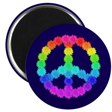 Rainbow Flower Peace Sign Magnet