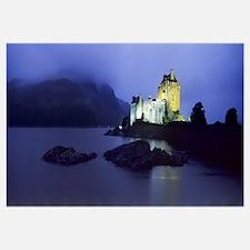 Castle lit up at dusk, Eilean Donan Castle, Loch D