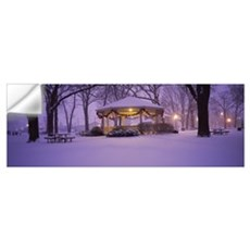 Gazebo covered with snow in a park, Rochester, Olm Wall Decal