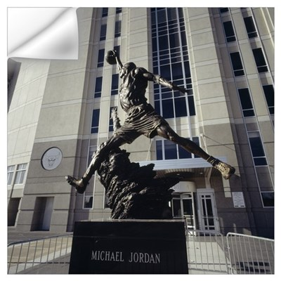 Statue in front of a building, Michael Jordan Stat Wall Decal