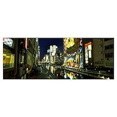 Buildings lit up at night, Dotonbori, Osaka, Osaka Poster