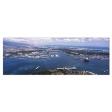 Aerial view of a harbor, Pearl Harbor, Honolulu, O Framed Print
