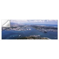 Aerial view of a harbor, Pearl Harbor, Honolulu, O Wall Decal