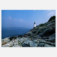 Castle Hill Lighthouse at the seaside, Newport, Ne