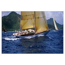 Yacht racing in the sea, Antigua, Antigua and Barb