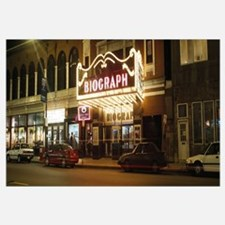 Theater lit up at night, Biograph Theater, Lincoln