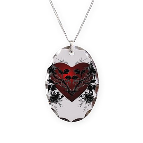 Heart-N-Thorns2 Necklace Oval Charm
