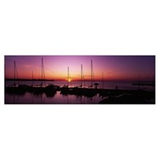 Silhouette of boats in the sea, Egg Harbor, Door C Poster