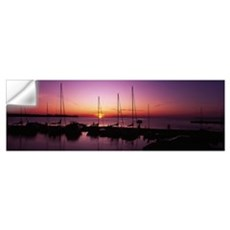 Silhouette of boats in the sea, Egg Harbor, Door C Wall Decal